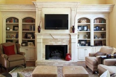 Tv Over Fireplace With Built In Storage Idea For Living Room