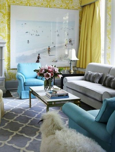 Aqua Gray Yellow for living room For the home