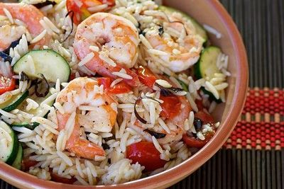 orzo with shrimp and summer vegetables #salad #pasta #shrimp / recipes ...