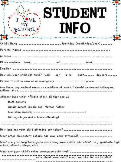 daycare information sheet template - student information sheet preschool items juxtapost