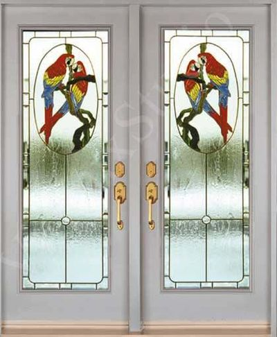 stained glass inserts for entry doors parrot design