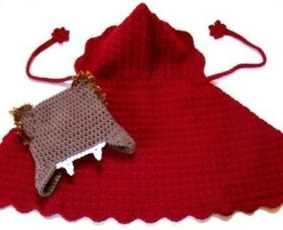 crochet pattern for a red riding hood cape and wolf hat, so ... / crochet ide...