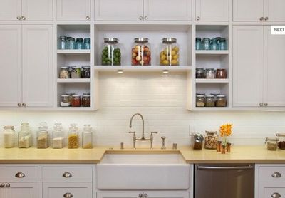 Painted White Cabinets Brushed Nickel Hardware Open Shelving
