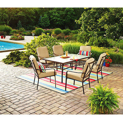 Walmart.com: Mainstays Crossman 7 Piece Patio Dining Set Tan Seats 6: