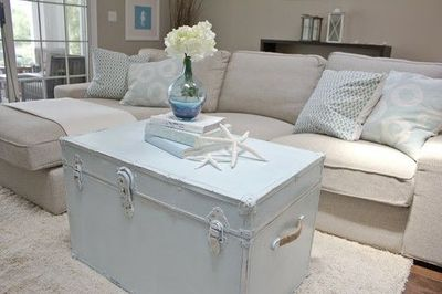 Painted/Distressed Trunk For Coffee Table