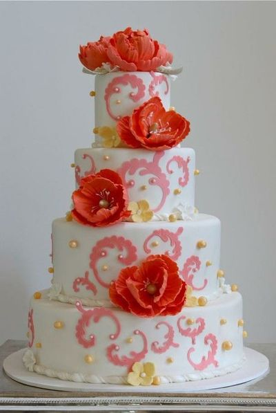 Wedding Cake - pink, coral, and yellow
