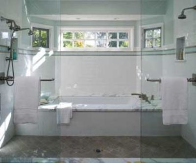 Clever Combined Shower And Bath Into One Shared Space