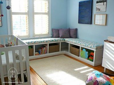 2 Ikea Expedit Bookshelves On Their Sides With A Cushion Top Make Bench