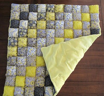 Easy Puff Quilt Tutorial Love The Grey And Yellow Cant Wai Stunning Puff Quilt Patterns