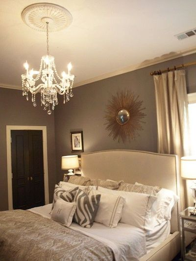 Beautiful bedroom design with gray walls paint color, Crate ...