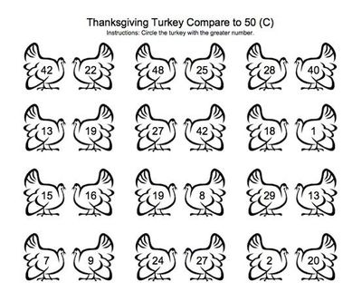 Greater than Less than Turkeys math sheet for Thanksgiving