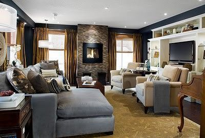 Candice Olson, Living Room, Blue And White, Stone Fireplace, Blue And Gold Part 45