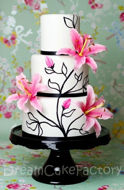 Wedding Cakes With Stargazer Lilies Stargazer Lily Cake