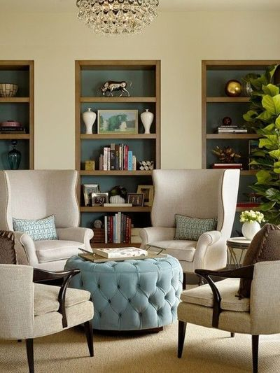 Love the layout for a small sitting area or living room for 4 chair living room arrangement