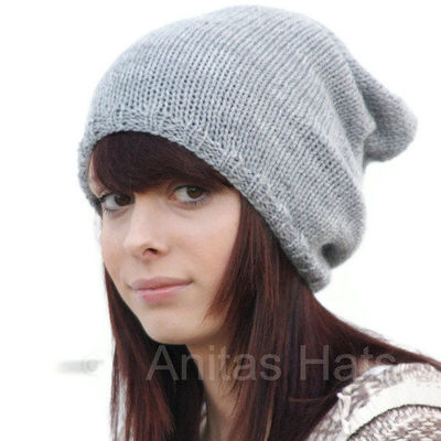 Grey Gray Oversized Knitted Slouchy Beanie Hat by slouchieha ... a59e9c7b63d