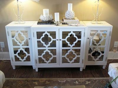 White Quatrefoil Mirrored Sideboard For The Home Juxtapost