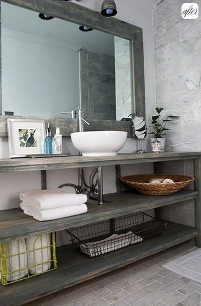 bathroom open shelving idea for bathroom area to