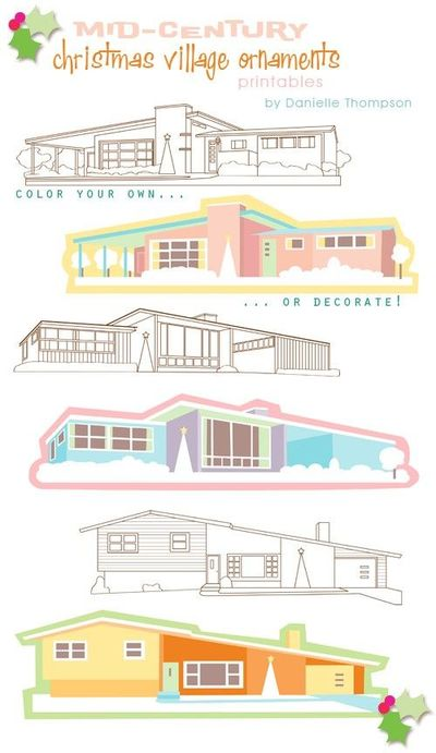 mid century modern home illustrations by danielle thompson ...