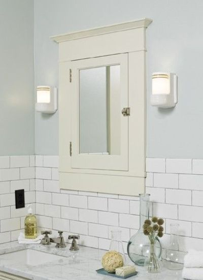 Bathroom In Pale Blue With White Subway Tile
