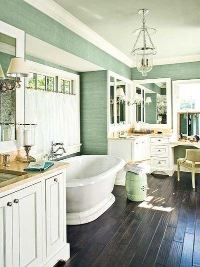 Like The Combination Of Dark Floors With Light Cabinets And Bath Ideas Juxtapost