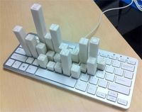 Key Chart / The heights of the keys on this 3D-printed keyboard represent the frequency of use of each English letter.