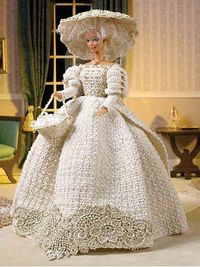 free crochet doll wedding dresses patterns