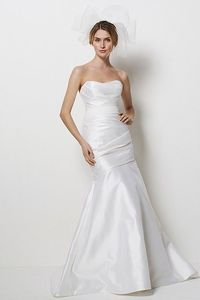 In Ivory, with soft organza finish (not satin) and no white belt, instead, sparkly jewelry belt - I like the shape