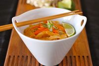 Red Curry Coconut milk and Rice Noodle Thai Soup - I Adore Food