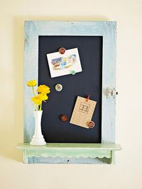 Old cabinet turned chalkboard. So cute.