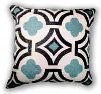 Quatrefoil Linen Throw Pillow- Spa Blue