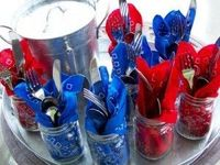 Mason Jars as utensil holders> great for a party or BBQ