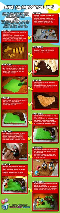 "Angry Birds Infographic �€"" How to Make an Angry Birds Cake!"