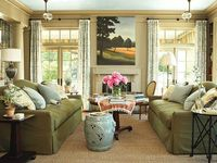 green sofas and living room arrangement