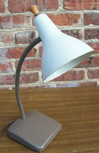 Gooseneck Desk Lamp Brown and Ivory Vintage Mid Century Modern 1960s
