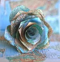 Rose made out of a map! GORGEOUS!