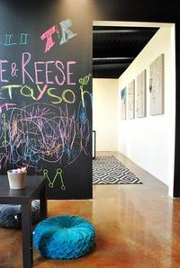 Walls kids can write on, what a good idea!