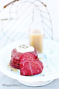 red velvet pancakes with buttermilk syrup...yum!
