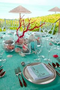 Teal and Red beach theme