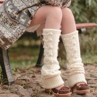 Cream Wool Dotted Knitted Legwarmers Ready to Ship by OurSunshine, $63.99