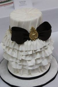 Ruffled Cake with Black Bow