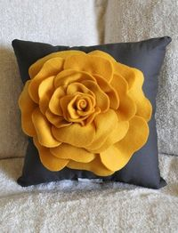 Fleece rose on a 12x12 pillow :: adore the colors