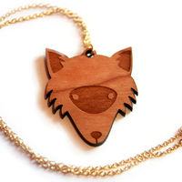 Wooden Fox Forest Necklace nature woodland - Folksy