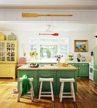 Green and yellow cottage kitchen