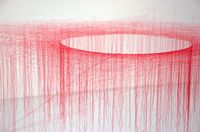 Silk Vortex / For over two decades japanese artist Akiko Ikeuchi has been creating room-�€‹�€‹sized vortices of silk, tying hundreds of small knots in coloured thread to form elaborate gallery installations.