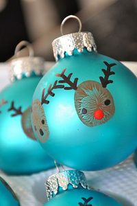 Reindeer Thumbprint Ornament - re-posted by