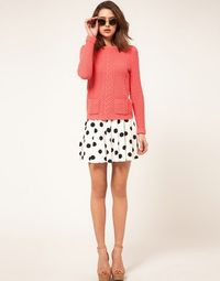 coral and polka dots