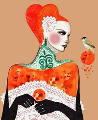 PRINT . Embroidery and bird . Peggy Wolf Design