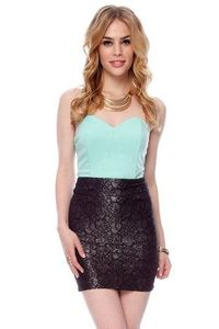 Silver Lining Pencil Lace Skirt in Black and Silver $23 at www.tobi.com