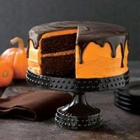 Country Living - Chocolate Pumpkin Cake. Perfect for a pumpkin-themed, Halloween-themed birthday!