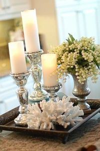 candle, plant, coral tray
